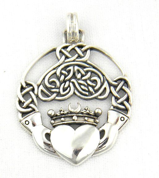 Sterling Silver Celtic Claddagh Pendant Charm With Intricate Celtic