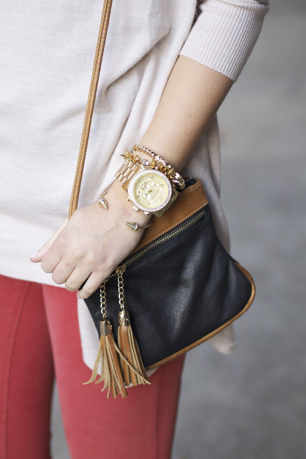 love all the accessories...Michael Kors runway watch with @Fringe and Lace and Stella and Dot bracelets