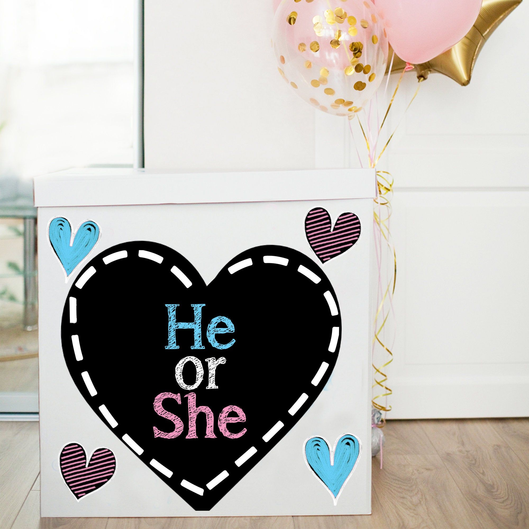 He Or She Gender Reveal Balloon Box Sign Sign For Gender Etsy Gender Reveal Balloon Box Gender Reveal Balloons Gender Reveal Box