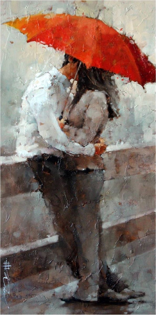 The Kiss By Andre Kohn Umbrella Art Painting Fine Art