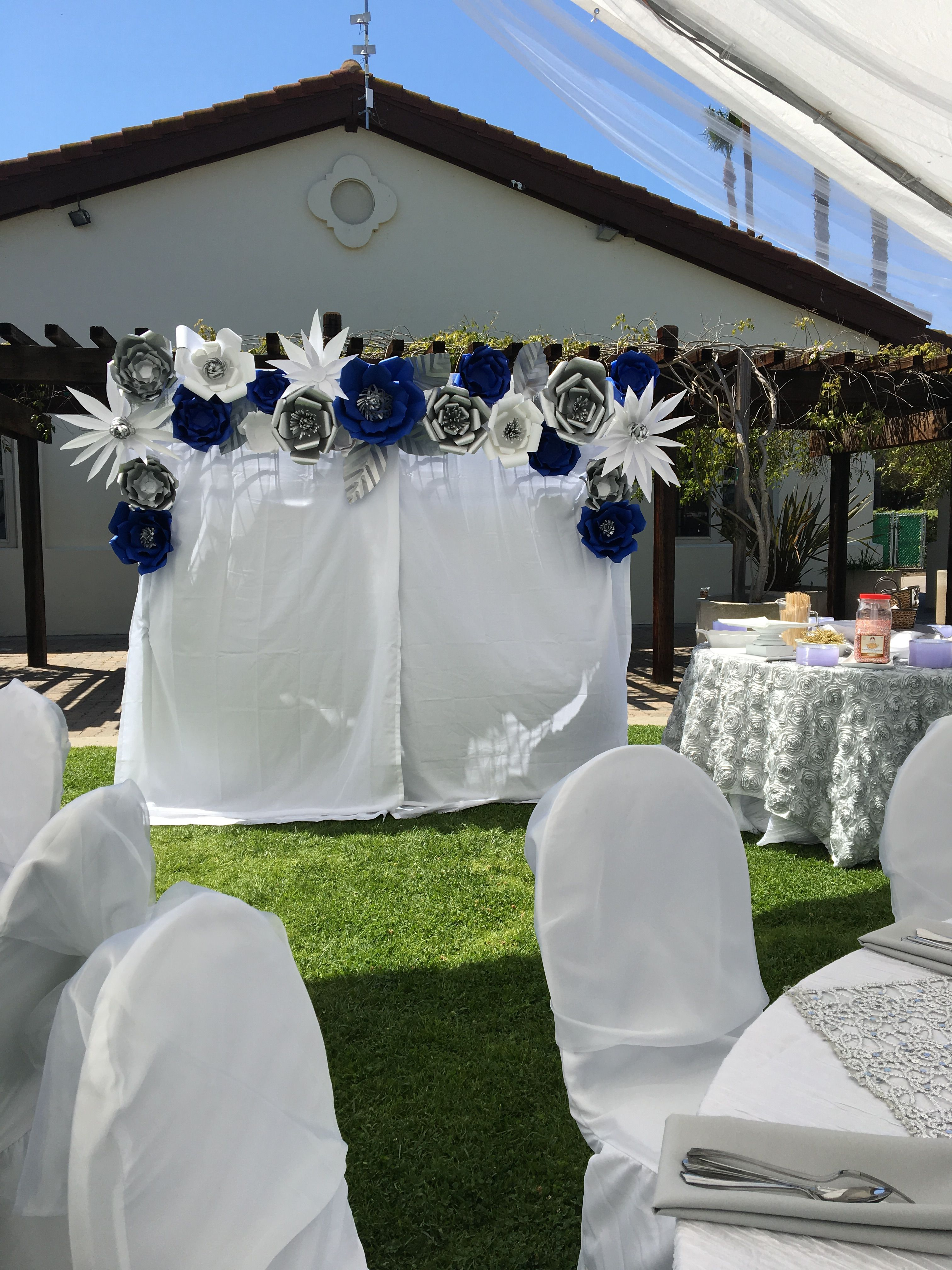 Royal Blue Silver And White Paper Flower Backdrop Photo Booth