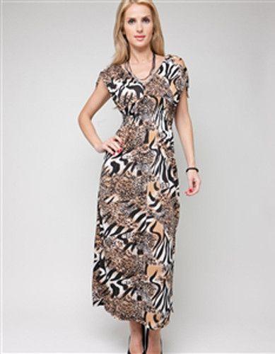 Womens Plus Size Casual Roman Fashion Shoulder Cinch Brown Tiger
