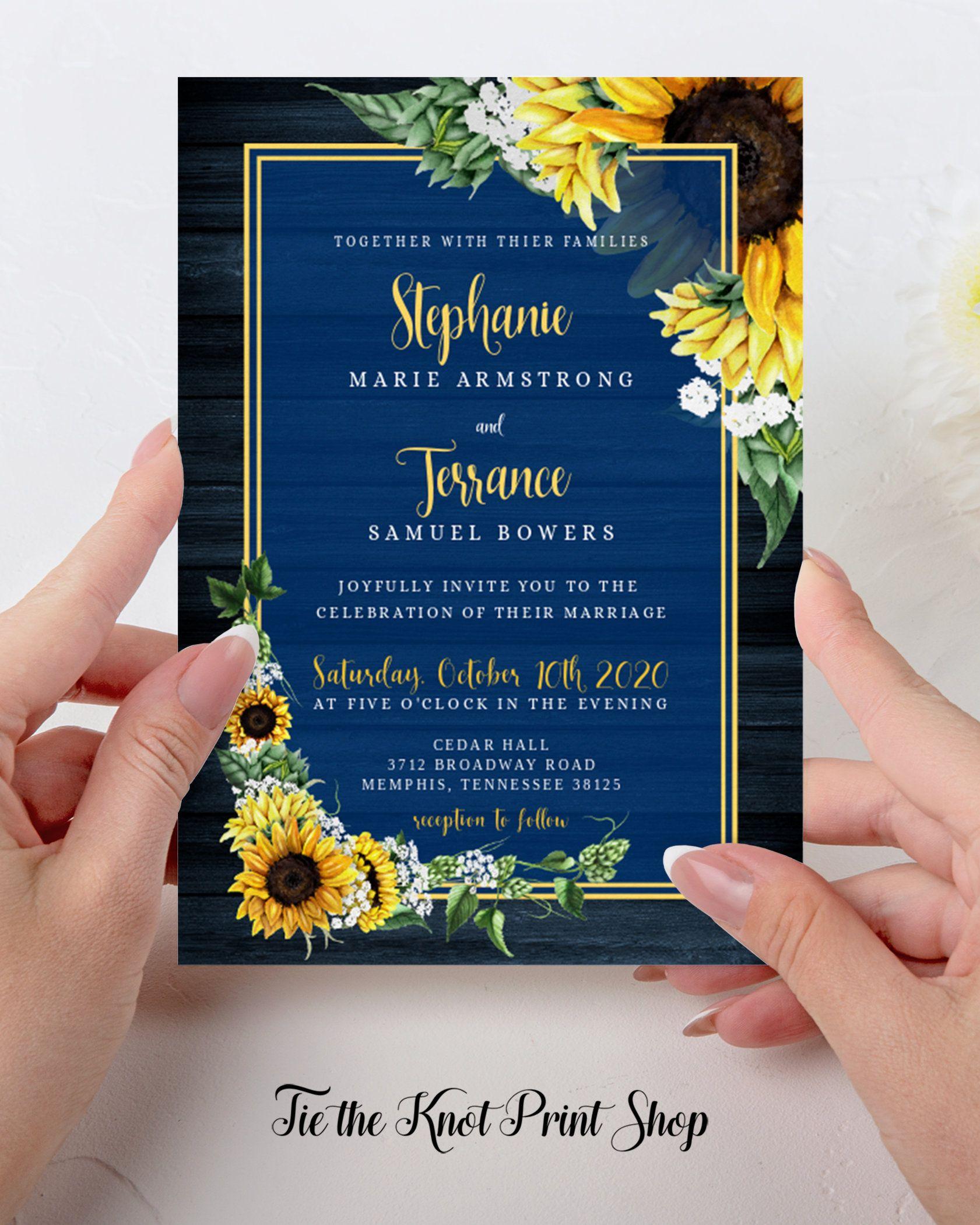 Navy Blue Rustic Sunflower Wedding Invitation Template