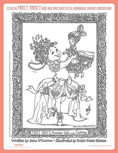 fancy nancy and marabelle lavinia chandelier printable coloring sheet fancy nancy printable activities
