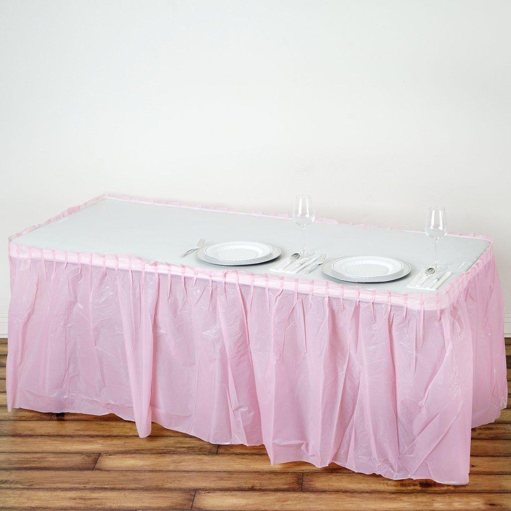 14ft Pink 10 Mil Thick Pleated Plastic Table Skirts Disposable Table Skirt Spill Proof In 2020 Plastic Tables Table Skirt Stylish Tables