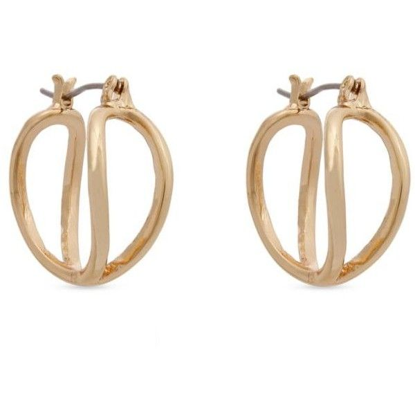 Erica Lyons Gold Essential Small Double Helix Hoop Earrings ($6) ❤ liked on Polyvore featuring jewelry, earrings, gold, gold jewelry, erica lyons jewelry, yellow gold earrings, hoop earrings and gold jewellery