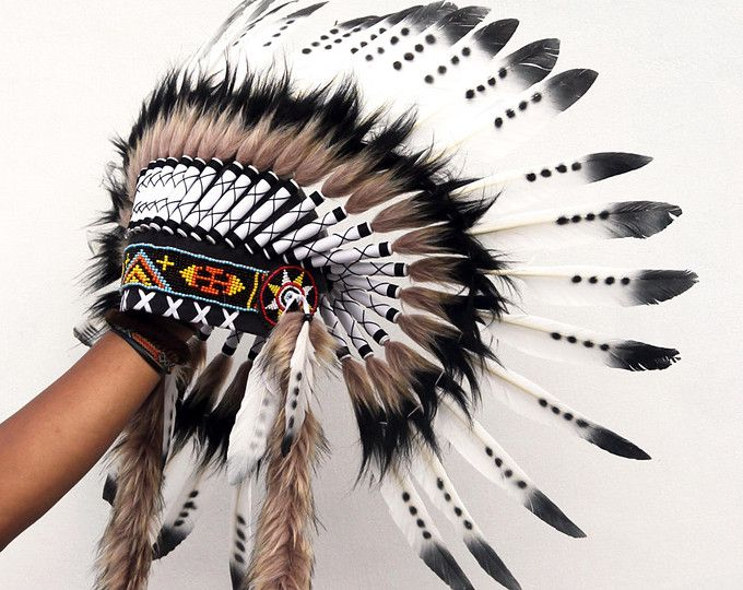 88742f6370896 Feather Indian headdress replica   black and white feather headdress ...