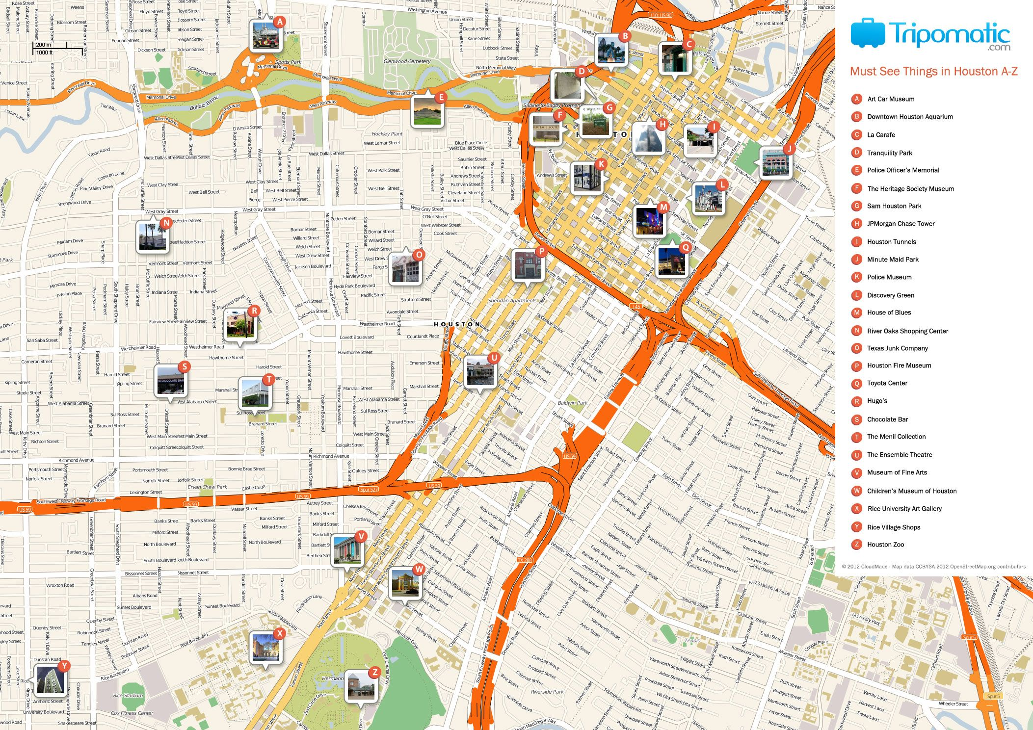 Houston Printable Tourist Map Houston attractions Tourist map and