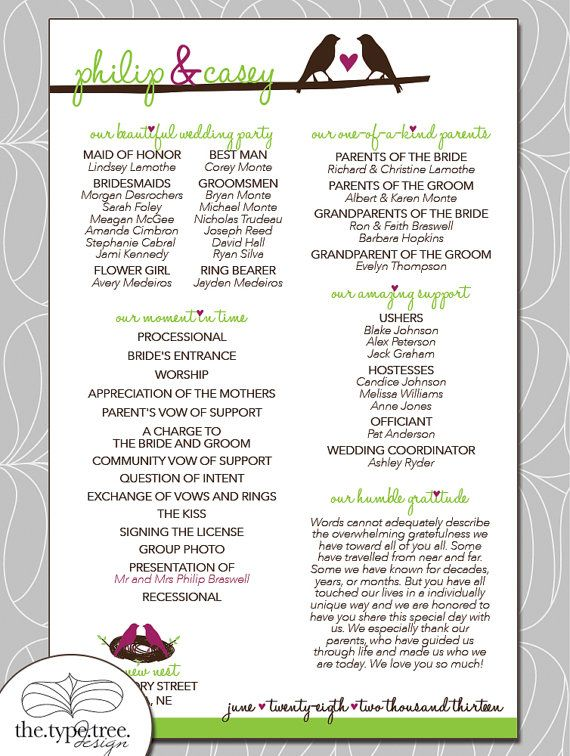 birds wedding program diy printable pdf file customized with your