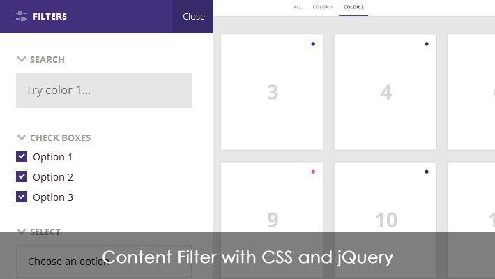 Content Filter with CSS and jQuery