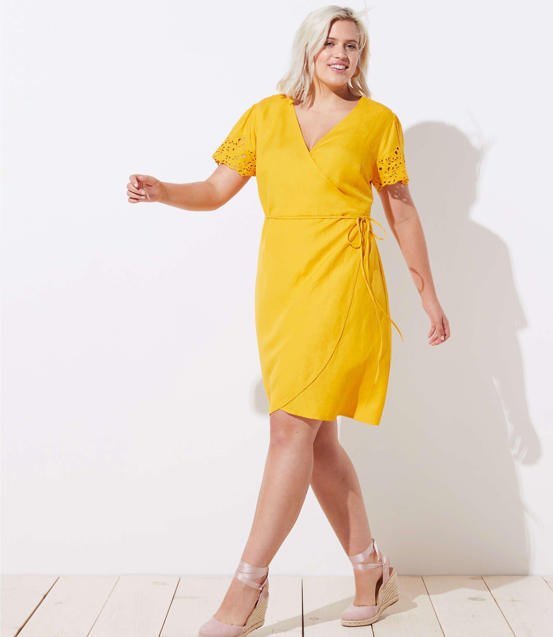 LOFT Plus Eyelet Sleeve Wrap Dress   LOFT   Yellow work ...
