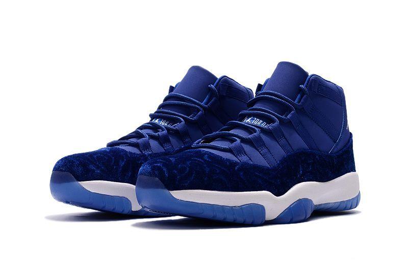 timeless design d514f 8bf58 2018 New Air Jordan 11 Blue Velvet Royal Blue-White Men s and Women s Size