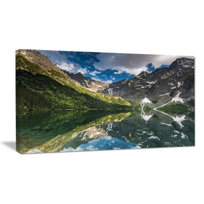 "DesignArt Reflection of Mountain Peaks Landscape Photographic Print on Wrapped Canvas Size: 20"" H x 40"" W x 1"" D"