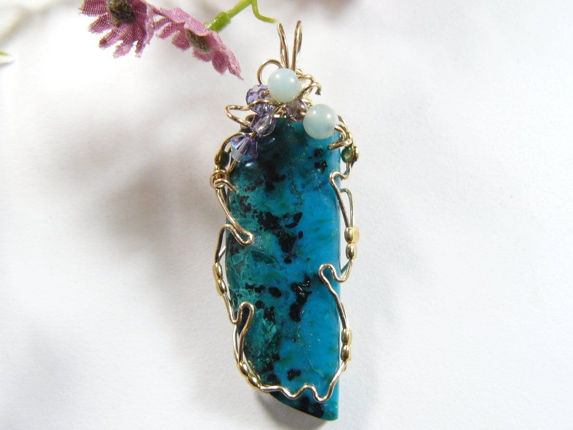 Gem Chrysocolla wire wrapped gemstone cabochon pendant, 14kgf wire ...