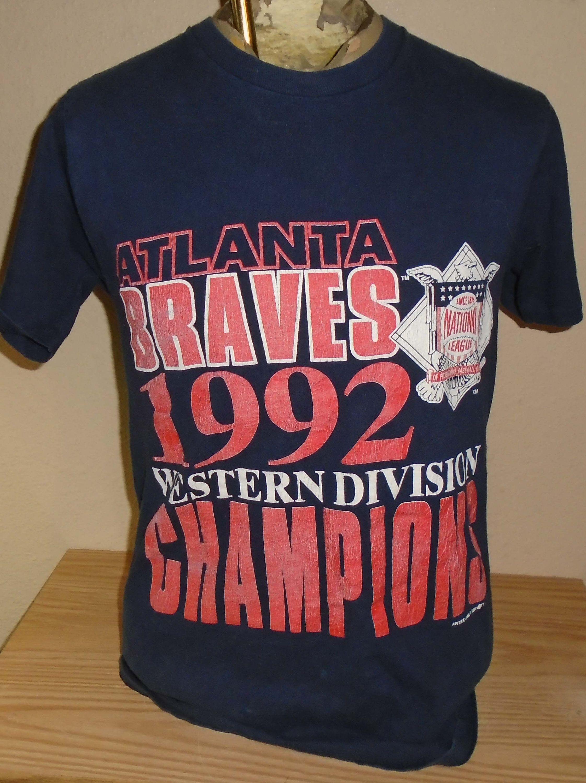 Vintage 1992 Atlanta Braves Western Division Champions Large T Shirt Atlanta Braves Cool Shirts Shirts