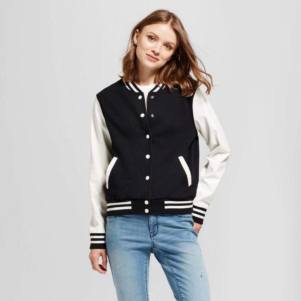 Women S Varsity Bomber Jacket Mossimo Supply Co Black And Cream M Size Small Varsity Bomber Jacket Varsity Jacket Women Jackets [ 1000 x 1000 Pixel ]