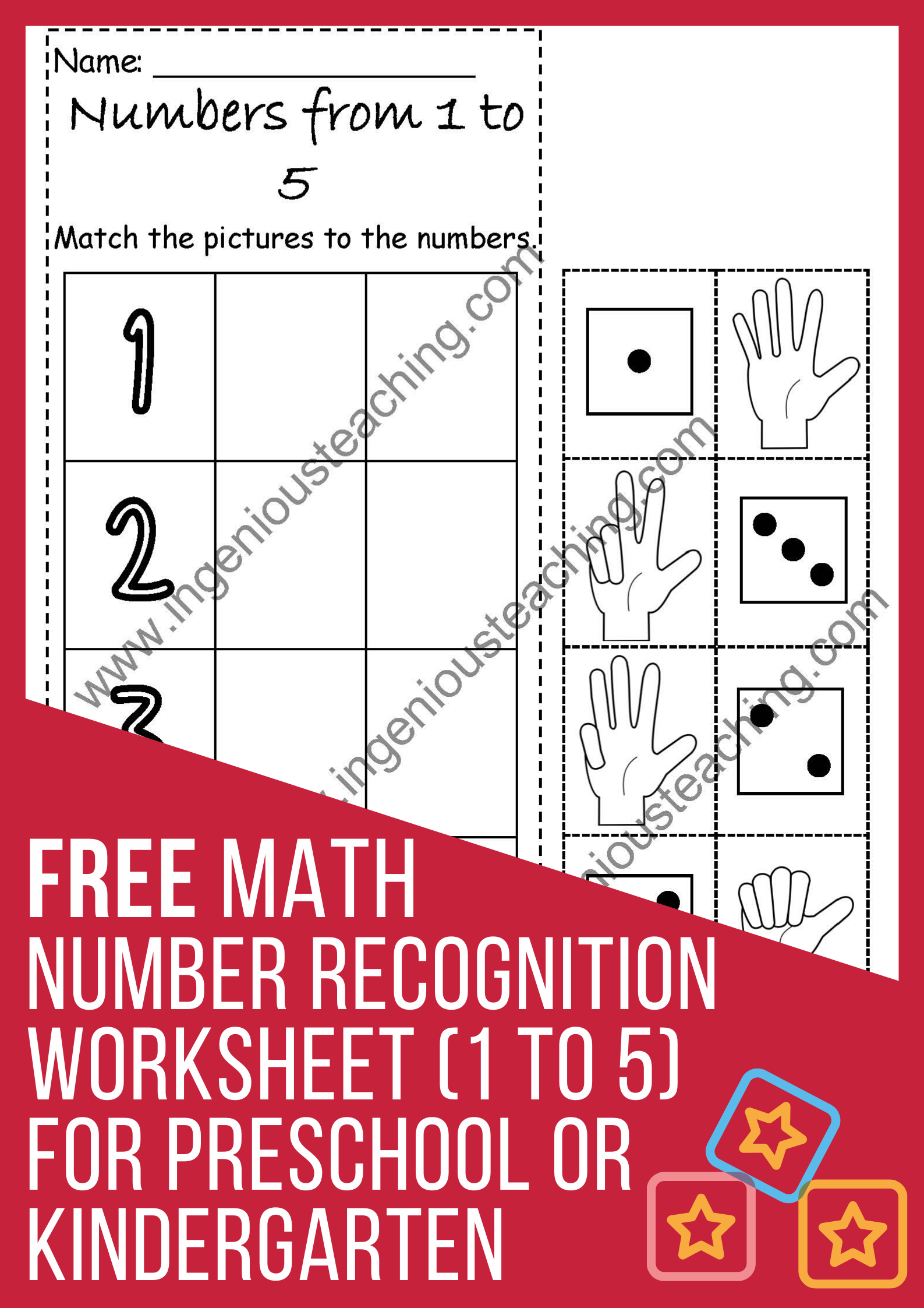 Free Math Number Recognition Worksheet 1 To 5 For Preschool Or Kindergarten Number Recognition Worksheets Free Math Math Numbers