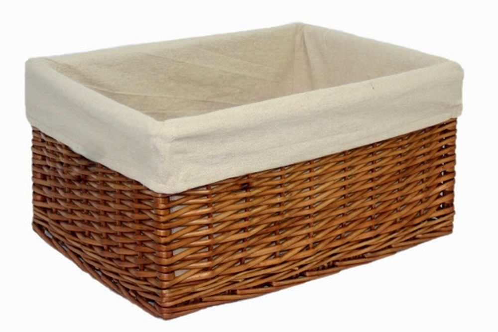 Double Steamed Wicker Willow Storage Basket Lined Small Large Bathroom Bedroom