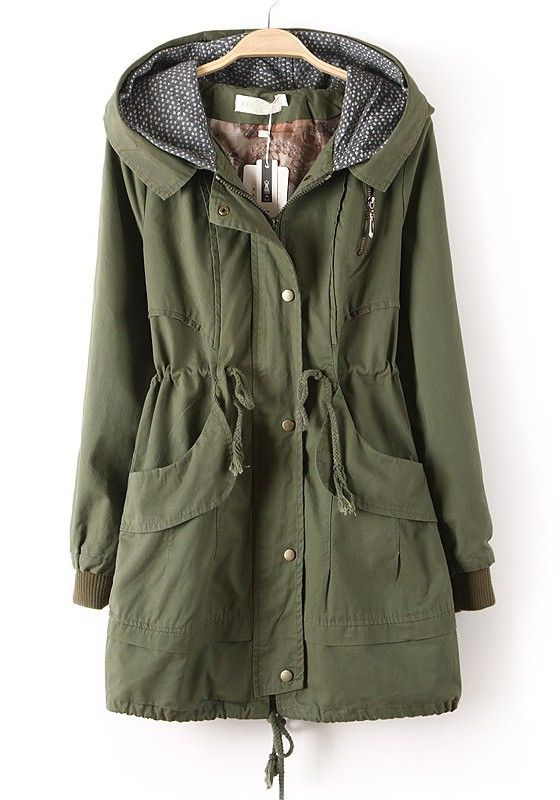 Army Green Zipper Drawstring Pockets Cotton Trench Coat | Green