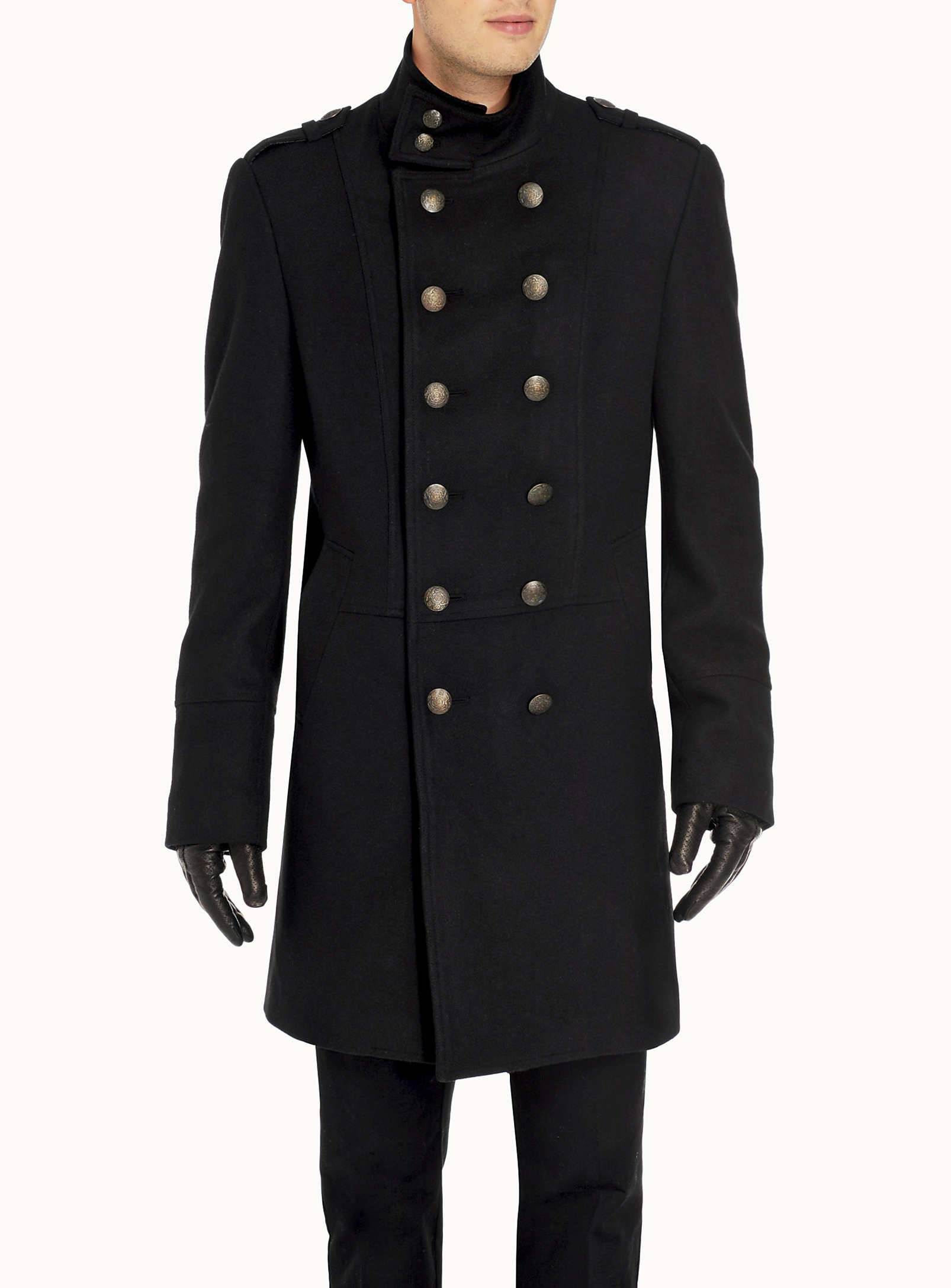 Long military coat, high neck | Men's Business Casual | Pinterest
