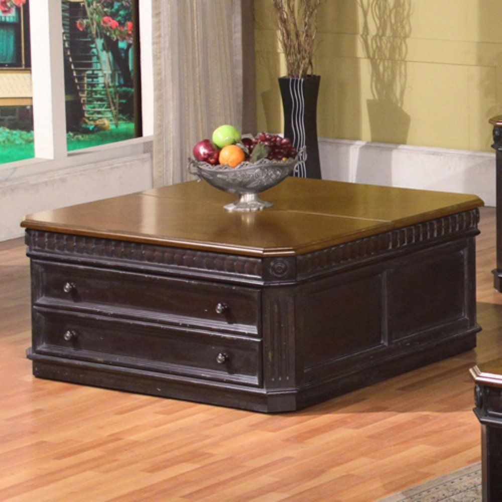 Parker House Square Lift Top Tail Table With Drawer Black Espresso Coffee Tables