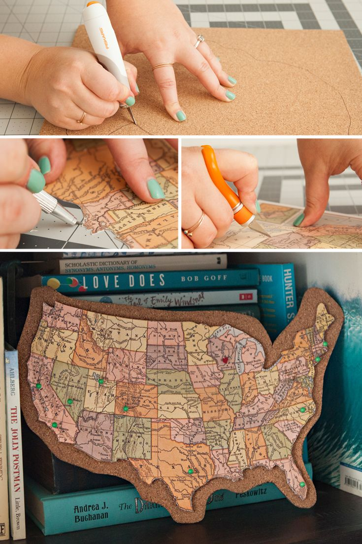 Craft a keepsake to map your adventures using Fiskars and corkboard.