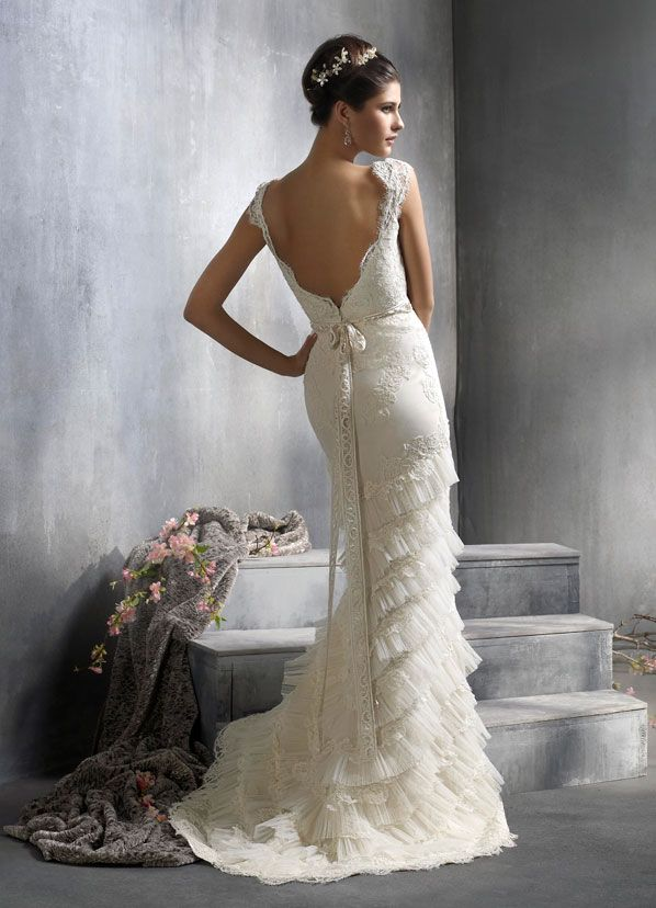 Backless Wedding Dress By Lazaro Ivory Alencon Lace On Net Over Silk Satin Organza Bridal Gown Scalloped V Neckline And Cap Sleeve Woven Bias Ribbon At
