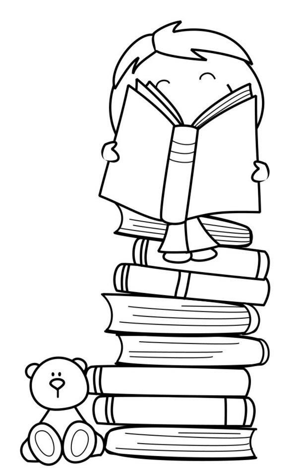 niño, libros, estudiando, colegio | Pinta y colorea | Pinterest ...