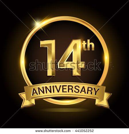 14th Golden Anniversary Logo 14 Years Anniversary Celebration With Ring And Ribbon Anniversary Logo 14 Year Anniversary 31st Anniversary