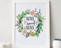 "PRINTABLE Art ""Home Sweet Home"" Typography Art Print Cactus Art Print Floral Cactus Cactus"
