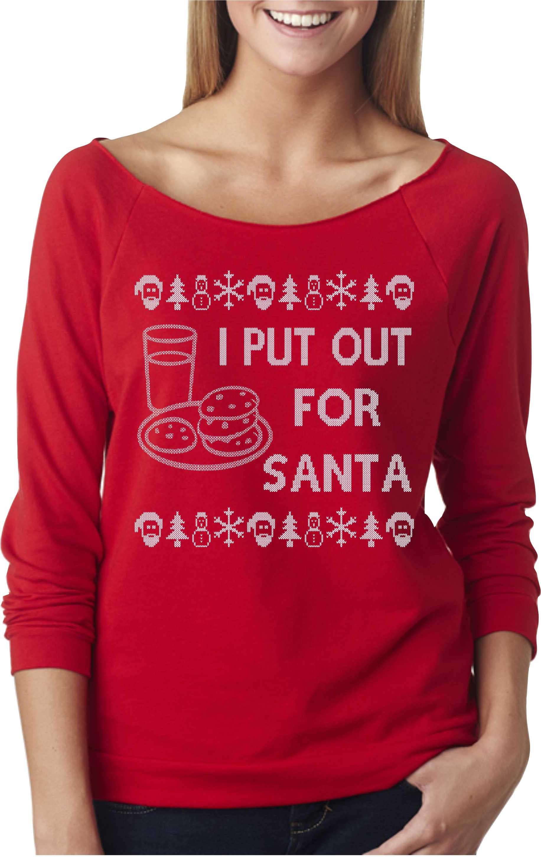 I Put Out For Santa Off Shoulder Sweater Raglan 34 Sleeve