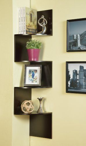 Kings Brand Espresso Finish Corner Zig Zag Hanging Wall Shelf ...
