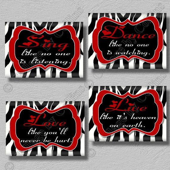 Red Zebra Print Wall Art Girls Bedroom Decor Dance Sing Live Love