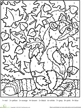 Worksheets Color by Number Raccoon Fall coloring pages