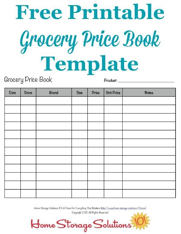 Grocery Price Book Use It To Compare Grocery Prices In Your Area - product comparison template word