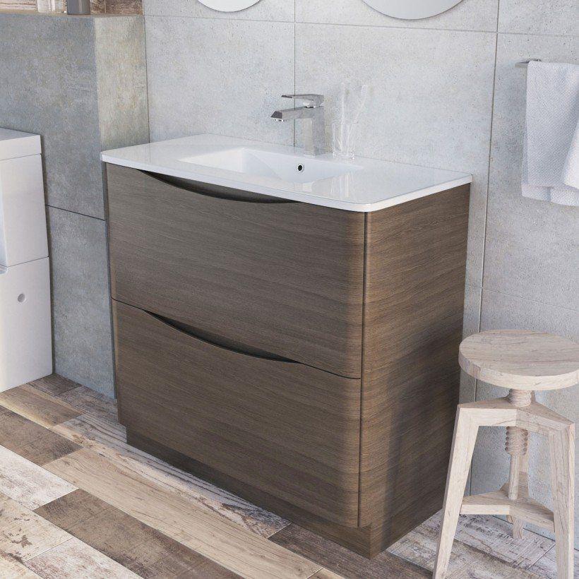 Erin Floor Mounted Mm Vanity Unit Grey Elm With White Glass - Bathroom vanities floor mounted