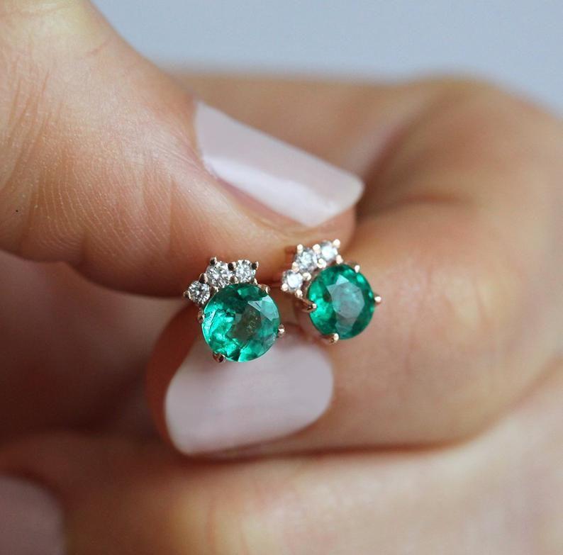 Natural Emerald Earrings in 14k Rose Gold Emerald Diamond | Etsy