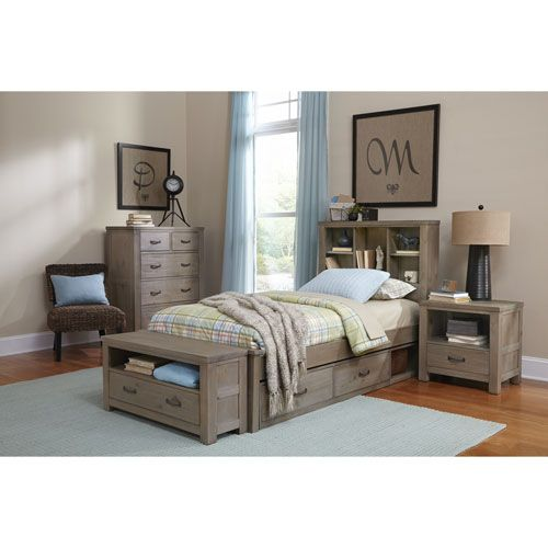 NE Kids Highlands Driftwood Twin Bookcase Bed with Storage