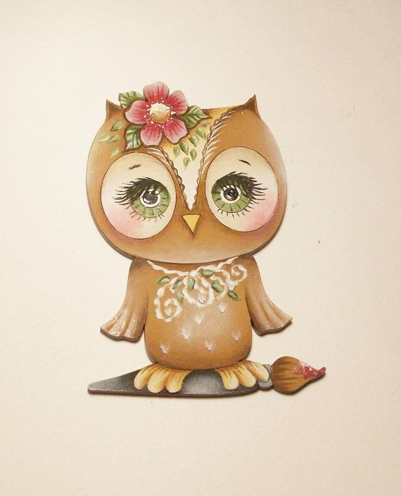 Handpainted Owl Pin Or Ornament. $14.00, via Etsy.