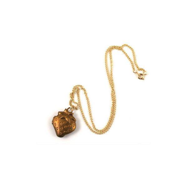 Strawberry fields locket necklace found on Polyvore