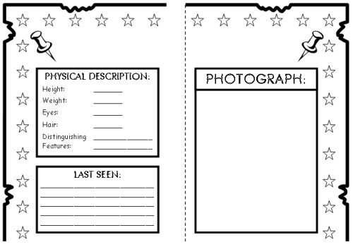 Wanted Poster Book Report Project templates, worksheets, rubric - wanted poster template