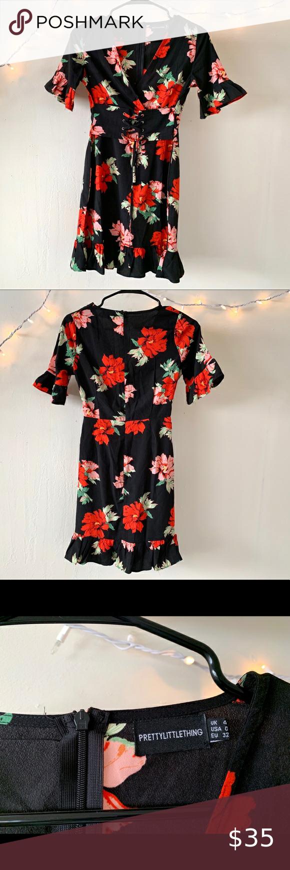 Vibrant Prettylittlething Mini Dress Flowers Mini Dress Ruffle Bell Sleeve Dresses [ 1740 x 580 Pixel ]