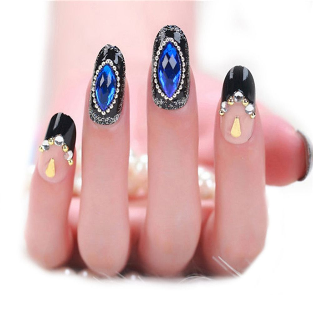 24Pcs Blue Diamond Artificial Nails French Tips Stiletto Nails ...