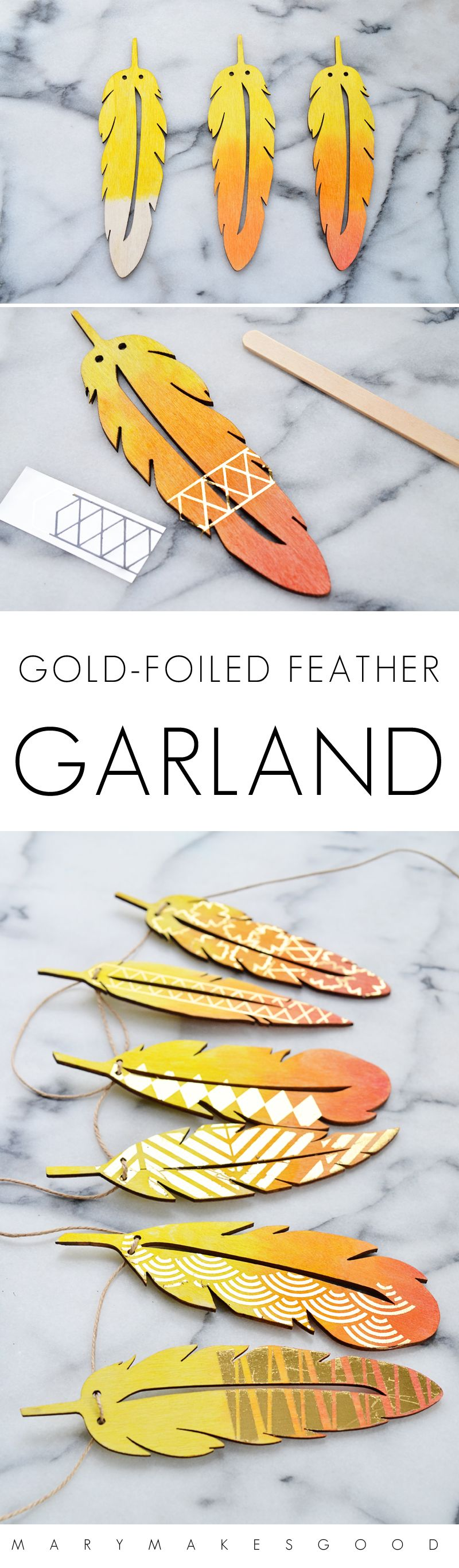 How To Make Gold Foiled Feather Garlands