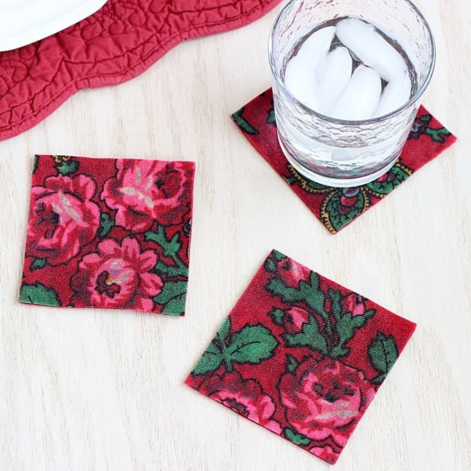 No-Sew Fabric Coasters (Vintage Style!) - Mod Podge Rocks -   19 fabric crafts No Sew simple ideas