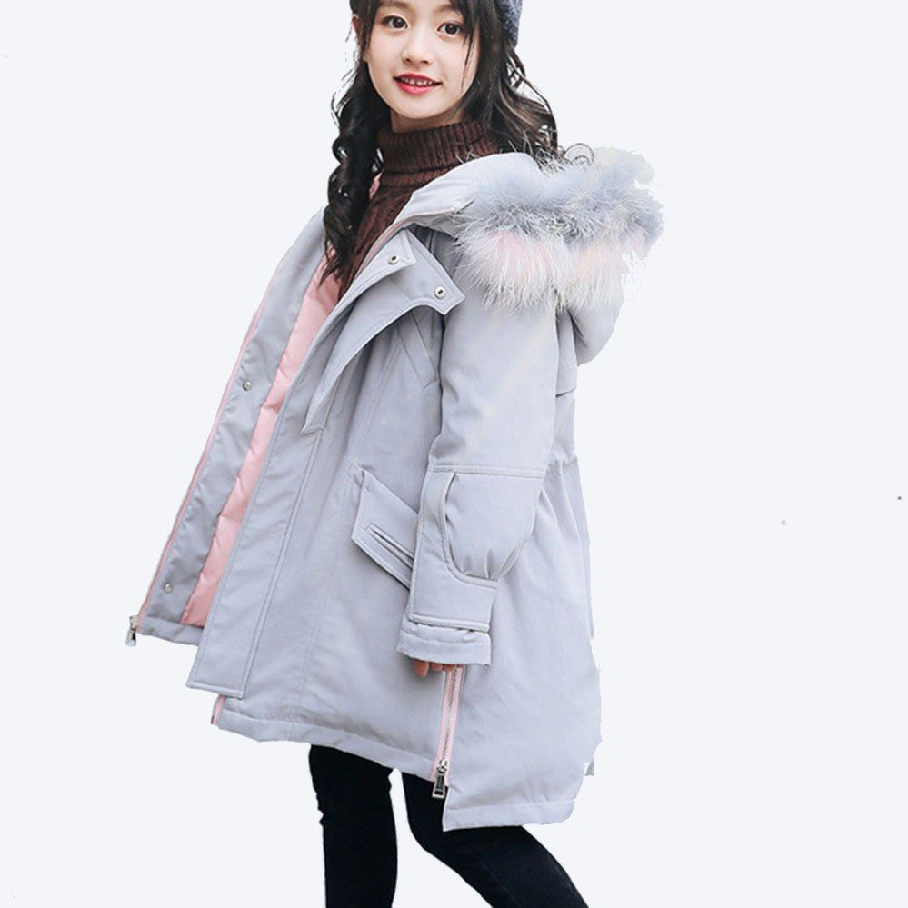 Girls Winter Jackets 80 White Duck Down Coat Hooded Thick Fur Girls Coat Solid Girls Jacket For Teenage Girls Winter Jackets Girls Jacket Kids Winter Jackets [ 999 x 999 Pixel ]