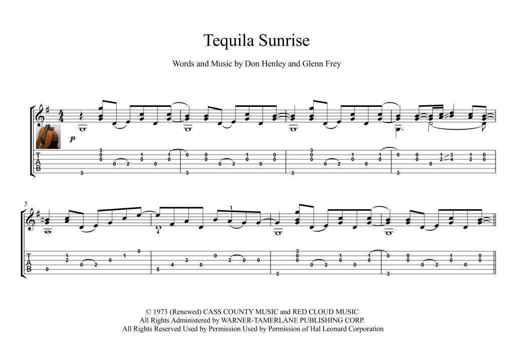 Tequila Sunrise Classical Guitar Solo Score Tequila Sunrise Is A