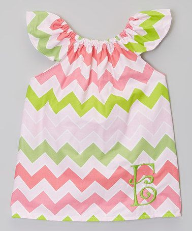 This Pink & Green Zigzag Initial Dress - Infant, Toddler & Girls is perfect! #zulilyfinds