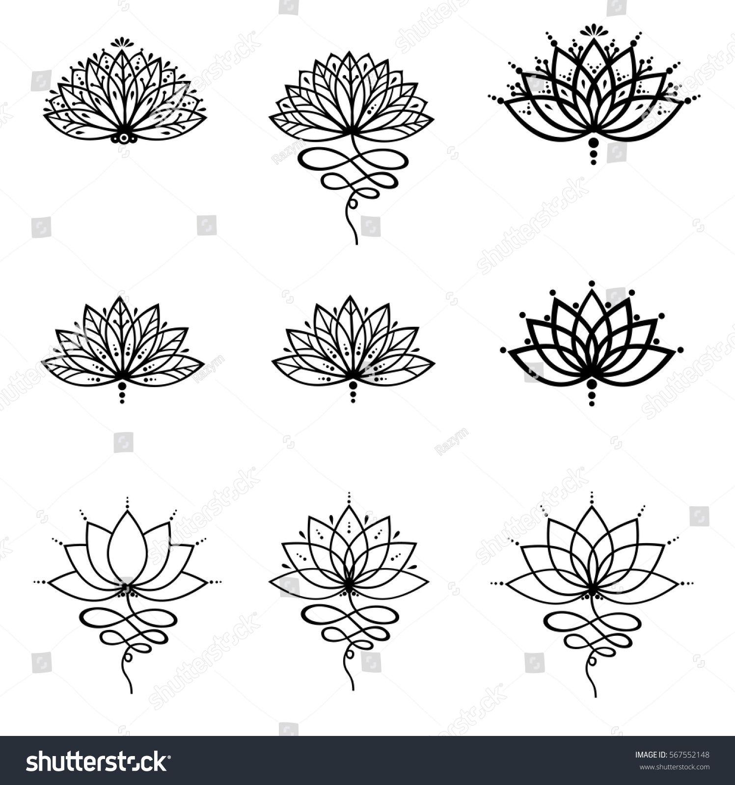 Set Ornamental Lotus Flower Vector Illustrtation Tattoo Patterned