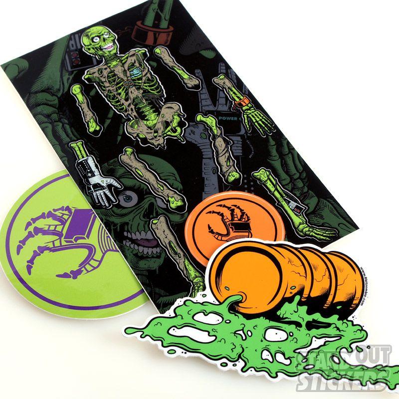 Custom rectangle vinyl stickers for 8 bit zombie